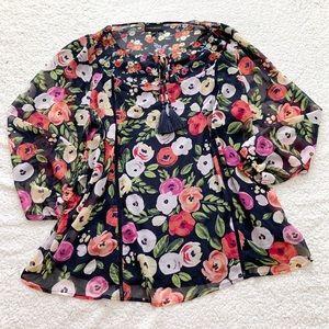 Lane Bryant floral boho tassel peasant top